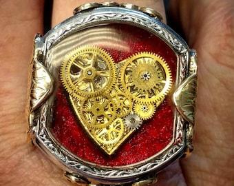 Steampunk Clockwork Heart Ring