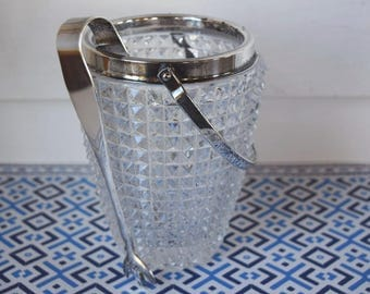 Vintage Glass Ice Bucket Clear Glass Cut Crystal Silver Plated Handle