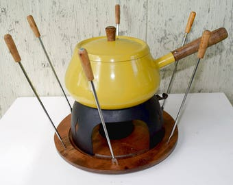 Fondue Set 1970 Yellow Enamel Pot with Fondue Forks Wooden Plate Metal Stand Sterno Holder