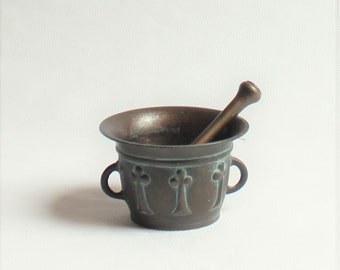 Vintage, Solid Brass Mortar and Pestle, Siegfried, 1964
