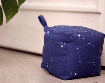 Doorstop|Fabric doorstop|Cube doorstop|Blue doorstop|Hand painted|Starry sky print|Constellations|Home decor|Family gift|Housewarming gift