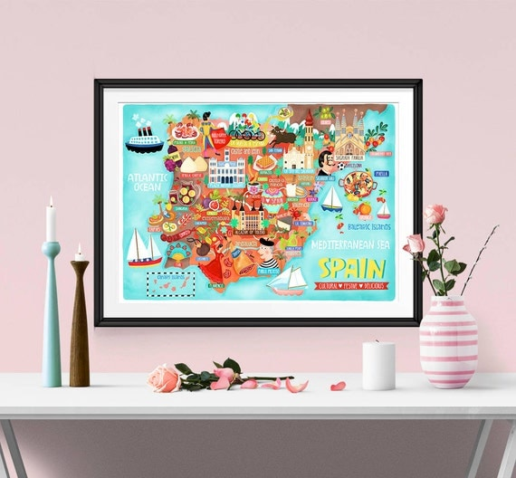 Spain Map Illustration Poster (UK shipping inclusive) (15% this January/February, use code JAN17SALE15)