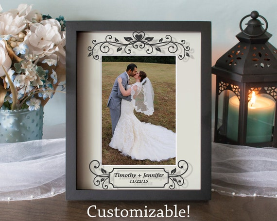 Personalized Wedding Picture Frames 8x10 : Custom Wedding Picture FrameAnniversary FrameShadow BoxVinyl ...