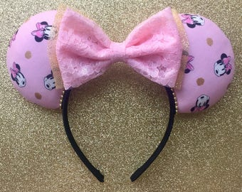 Minnie in Pink Ears, Minnie Ears, Pink and Gold Ears, Disney Ears