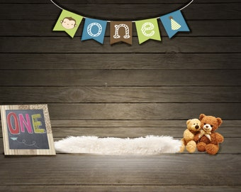 Boys 1st Brithday Digital Backdrop, Instant Download, High Res