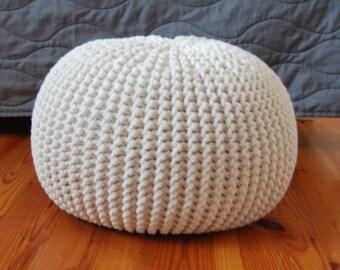 Knitted Pouf - colours, ecru Seat, Crochet Pouf, ottoman, footstool