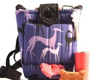 Dog walking bag dog with poop bag dispenser gift for greyhound, Cross body bag dog waste bag holder for dog walkers, sighthound gift