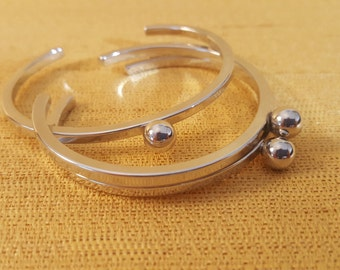 Silver bracelet, simple bracelet, cuff bracelet, adjustable bracelet