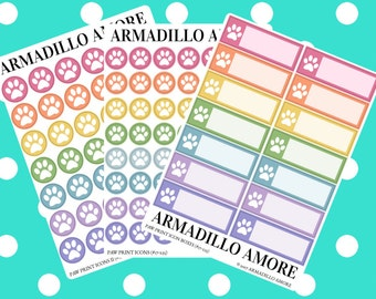 Paw Print Reminders, Choose Icons or Boxes {14+ Fancy Matte or Glossy Planner Stickers, Double Rainbow} | #17-235