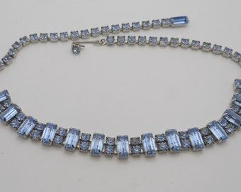 Vintage Blue Emerald & Round Rhinestone Choker Necklace