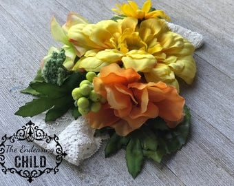 Flower Girl Infant Headband/Spring/Summer/Photo Prop/Birthday Outfit Accessory/Baby Shower Gift