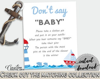 Dont Say Baby Baby Shower Dont Say Baby Nautical Baby Shower Dont Say Baby Baby Shower Nautical Dont Say Baby Blue Red party theme DHTQT