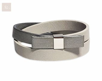 Gray / silver genuine Leather Bracelet women