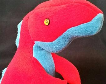Timmy T-Rex,T-Rex bear,tyrannosaurus rex, fleece dino,dinosaur teddy, fleece dinosaur, red dinosaur, blue dinosaur, soft dinosaur