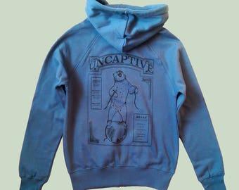 Bear Zip Hoody - Blue Organic Endangered Animals Uncaptive