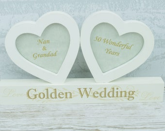 Personalised 50th Anniversary Double Twin Heart Photo Frame Golden Wedding F0890E/P
