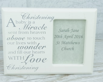 Christening Photo Frame Wooden Personalised A Baby is A Miracle Gift  F0582B/P