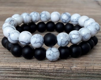Couple bracelets you complete me bracelets set shungite bracelet howlite bracelet friendship bracelets long distance bracelets gift him her