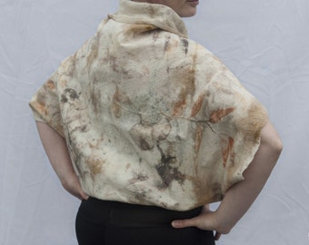 Felt Wool Eco Print Jacket Cape Vest Top Shawl - a warm gift for your loved one