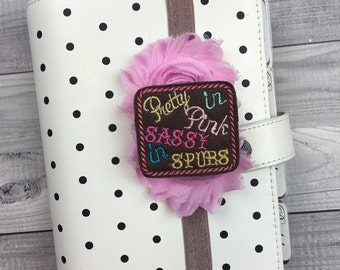 Sassy Spurs Planner Band: Pink and Brown, Elastic, Notebook and Planner Closure, Perfect for EC, Mambi, KikkiK, Filofax, & more!