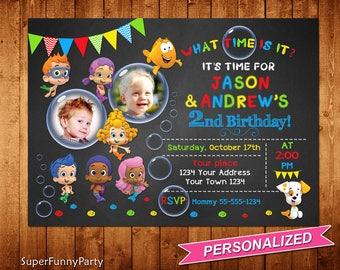 Bubble Guppies Invitation, Twin Bubble Guppies Invite, Chalkboard Bubble Guppies Photo Invite, Personalized, Digital File