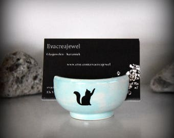 Unique handmade ceramics business card holder with decal cat/puss-pottery