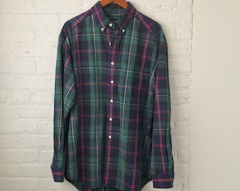 vintage 90's GAP grunge plaid buttonup/ blue & green tartan/ size L