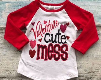 Valentines Day Girls Shirt, Valentines Cute Mess, Valentines Red White Pink