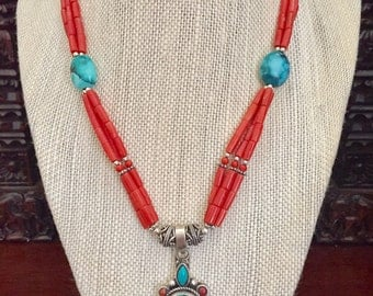 Coral/turquoise with sterling silver necklace..