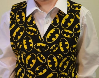 Boys Waistcoat made with Batman fabric; matching Bowtie available.