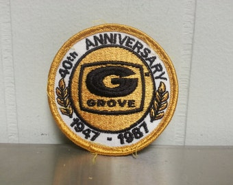 Vintage 80's Grove Manlifts 40th Anniversary Circle Hat Patch Craft