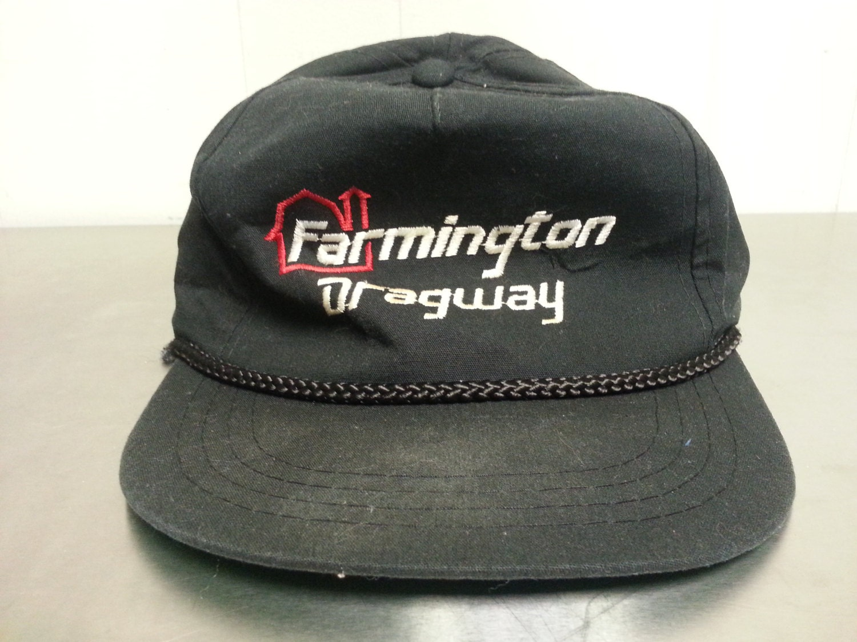 6a18d1a39f4 Vintage 90 s Farmington Dragway Snapback Dad Hat Black NASCAR Car Racing  Local Piece North Carolina Southern
