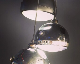 Vintage motorcycle or scooter headlight pendant lights