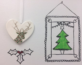 Hand painted Ceramic Heart - Holly Stag, heart, christmas decoration, ornament, gift, friend, heart