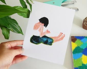 Fat crayons, illustration, Girl, print, draw, Ecolabel, Fine Art Print paper