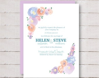 Watercolour Flower Wedding Stationary Set - Save the Date, Invitation and more!