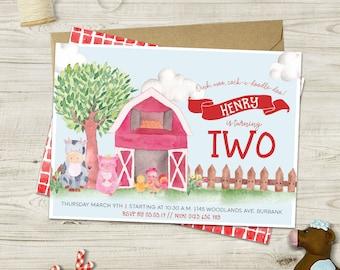 Watercolor Farm Invitations