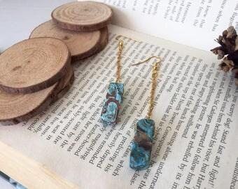 Ocean Jasper Dangle/Drop Gold Chain Gemstone Earrings, Perfect Gift For Her/Mum/Sister/Bestfriend/Girlfriend