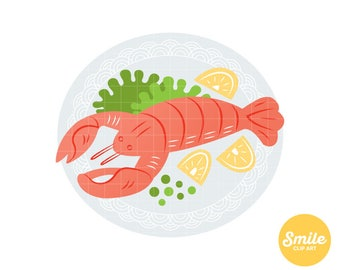 Lobster Dinner Clipart for Commercial Use - C0115
