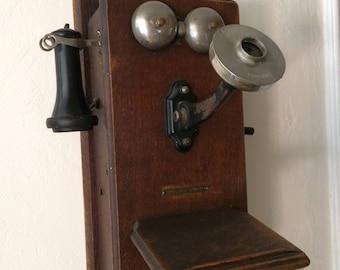 Stromberg Carlson original antique vintage hand crank wall telephone
