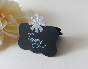 Personalized Place Cards, Black Place Cards, Wedding Place Cards, Black and Silver, Bridal Shower, Custom Place Cards, Silver Glitter