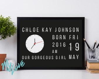 Flip Clock Personalised Print New Baby Boy Girl Birthday Born