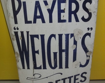 """1930s genuine cigarette enamel sign """"players weights"""" 57cmx90cm"""