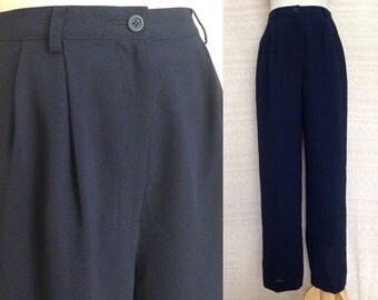 """High waisted pants, S/M """"Melissa"""" Navy Blue vintage high waisted trousers, high waisted pants, straight trousers, us size 6 8, 90s clothing"""
