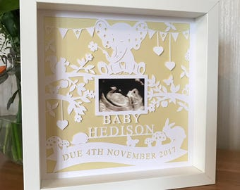 Personalised Baby Scan Frame Paper Cut