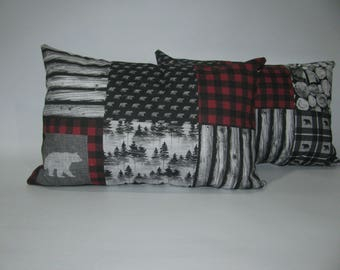rustic cushion, bear, red tiles and wood patchwork