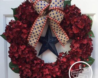 Patriotic Wreath, Hydrangea Wreath, Red Wreath, Summer Wreath, Wreath Street Floral, Grapevine Wreath, Front Door Wreath, Star Wreath