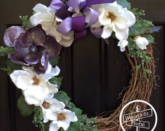 Magnolia Wreath, Purple Wreath, Wreath,Year Round Wreath, Spring Wreath, Wreath Street Floral, Summer Wreath, Front Door Wreath
