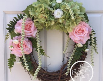 Summer Wreath, Rose Wreath, Hydrangea Wreath, Front Door Wreath, Grapevine Wreath, Wreath Street Floral, Pink Wreath, Spring Wreath
