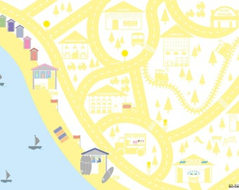 Yellow personalised seaside car mat